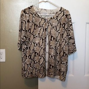 Brown Pattern Sweater w/ One Silver Accent Button